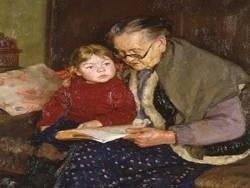 Молодая семья и русская бабушка
